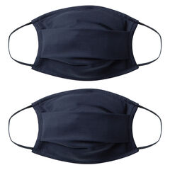 Lot de 2 masques unis enfant AFNOR en tissu - Bleu foncé