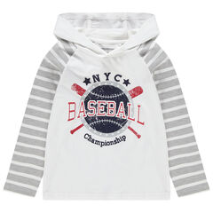 Camiseta de manga larga con capucha y estampado de estilo baseball