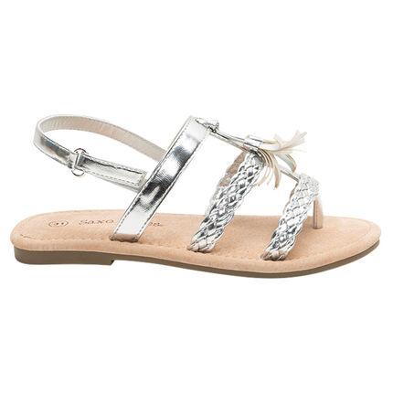 Sandalias plateadas con tiras trenzadas y pompones
