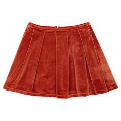 Falda plisada de terciopelo