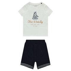 Conjunto de camiseta de manga corta con estampado velero y bermudas