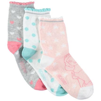 Juego de 3 pares de calcetines con estampado gráfico y de princesas Disney