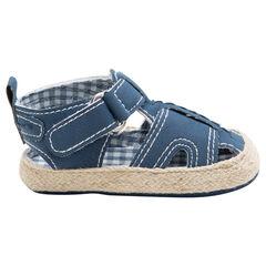 Sandalias flexibles con forro de Vichy y suela con efecto de paja , SAXO BLUES