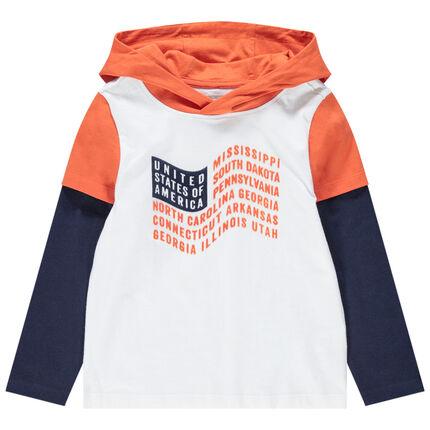 Camiseta de manga larga con efecto 2 en 1 con bandera estampada