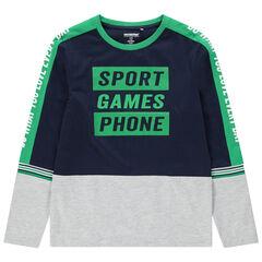 Júnior - Camiseta de manga larga de punto con inscripciones estampadas