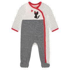 Pijama de terciopelo con estampado de gato y lacito de satén