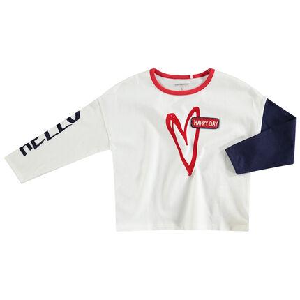 Camiseta de punto de manga larga con corazón y parche de rizo