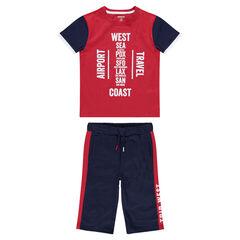 Júnior - Conjunto de punto con camiseta estampada y bermudas de felpa