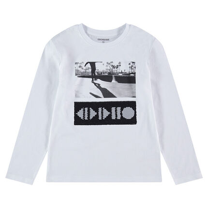 Júnior - Camiseta de manga larga de punto con dibujo de lentejuelas mágicas