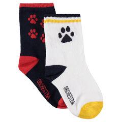 Juego de 2 pares de calcetines con huellas de jacquard