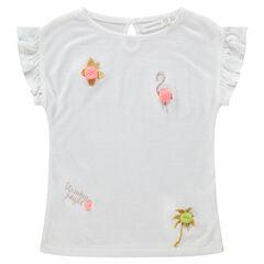 Camiseta de manga corta con bordados brillantes y pompones