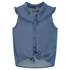 Júnior - Camisa de manga corta de Tencel que se anuda