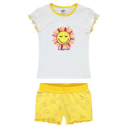 Pijama de punto con sol de relive y pantalón corto estampado ©Smiley all-over