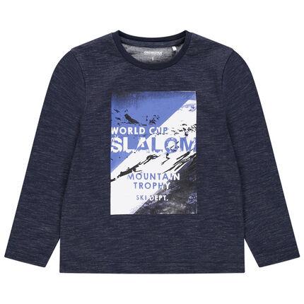 Camiseta de manga larga de punto con paisaje estampado