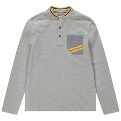 Júnior - Polo de manga larga jaspeada con cuello mao y bolsillo