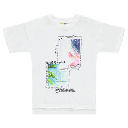 Camiseta de manga corta de punto con paisajes tropicales estampados