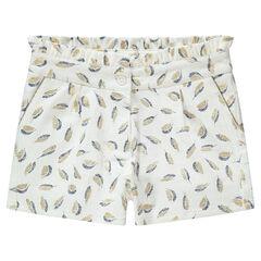 Júnior - Pantalón corto de algodón trenzado con plumas doradas estampadas all-over