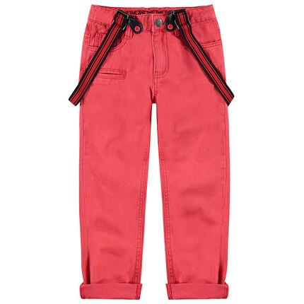 Pantalón de algodón sobreteñido con tirantes desmontables y ajustables