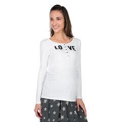 Camiseta de manga larga para embarazo y lactancia con automáticos en el cuello