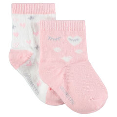 Juego de 2 pares de calcetines variados con corazones y ojos de jacquard