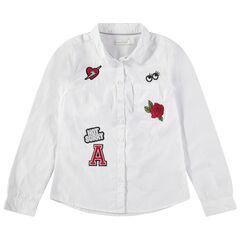 Júnior - Camisa de manga larga de algodón teñido con parches cosidos