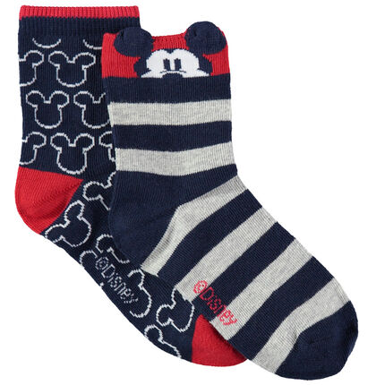 Juego de 2 pares de calcetines con dibujos/rayas de jacquard Mickey Disney