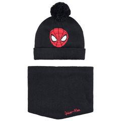 Conjunto de gorro y snood de punto con forro de borreguillo y dibujo de Spiderman