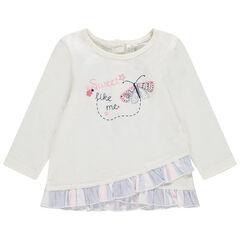 Camiseta de manga larga con solapas con volantes y mariposa estampada