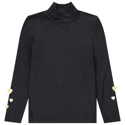 Camisa interior con cuello subido y corazones de relieve