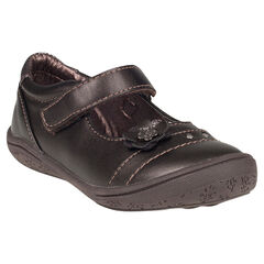 Zapatos merceditas con velcro de cuero aplicación con estampado flor