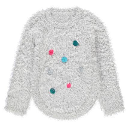 Jersey de punto de bolas con pompones de colores