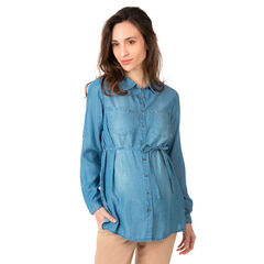 Camisa de manga larga retráctil en Tencel con efecto desgastado