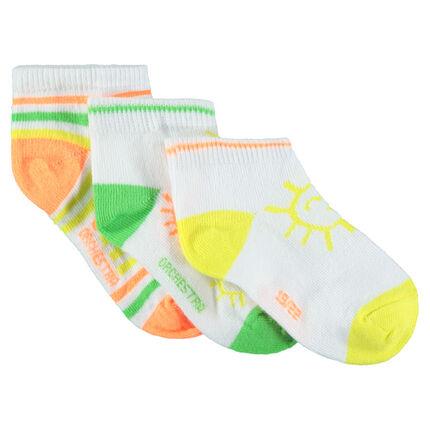 Pack de 3 pares de calcetines cortos con motivo de colores