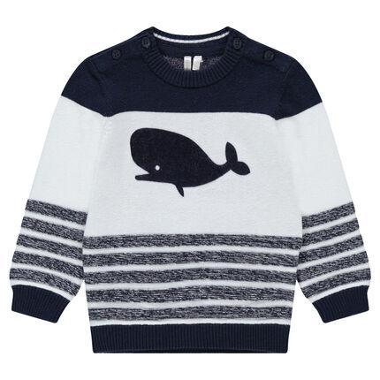 Jersey de punto con rayas estampadas y ballena