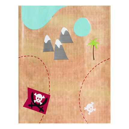 Mantel de cumpleaños de Pirata con dibujo del mapa del tesoro 110 x 180 cm