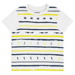 Camiseta de manga corta de punto con rayas de fantasía