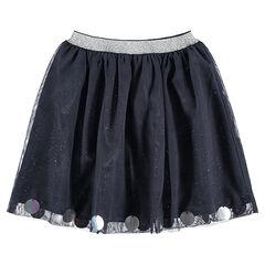 Falda con volantes y falda de tul brillante con cintura brillante