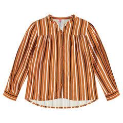 Camisa de manga larga con rayas verticales en contraste