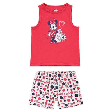 Pijama con camiseta sin mangas con estampado de Minnie ©Disney y pantalón corto con estampado all-over