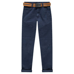 Pantalón de sarga y corte slim con cinturón extraíble