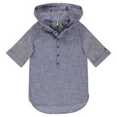 Júnior - Camisa de manga corta con capucha de algodón semiliso