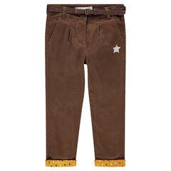 Pantalón de sarga marrón con cintura brillante desmontable