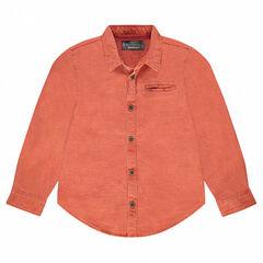 Camisa de manga larga de algodón fantasía con bolsillo