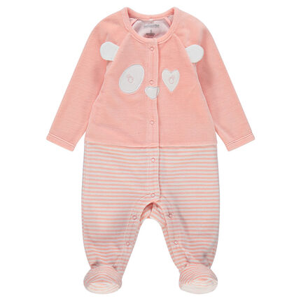 Pijama de terciopelo con efecto 2 en 1con pandas bordados