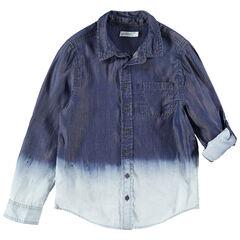 Júnior - Camisa de manga larga con efecto tie and dye y bolsillo