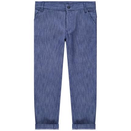 Pantalón jaspeado de algodón de fantasía