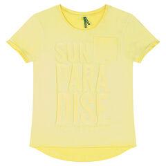 Júnior - Camiseta de manga corta de punto teñido con inscripción estampada de relieve
