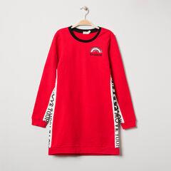Júnior - Vestido de punto rojo con bandas estampadas