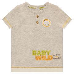 Camiseta de manga corta con forro de jersey y parche de león