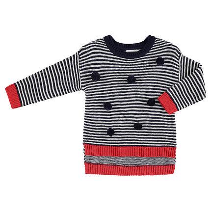 Jersey de punto con rayas que contrastan y borlas